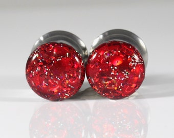 Christmas Plugs, Holiday Plugs, Red Gauges, Ear Plugs, Tunnels, Gages - sizes 0g, 00g, 7/16, 1/2, 9/16, 5/8, 3/4, 7/8, 1+