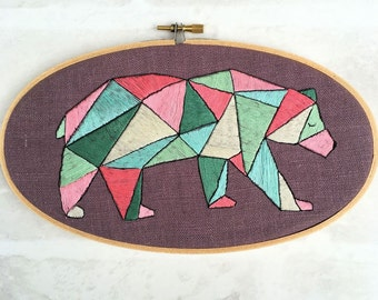Geometric Bear Hand Embroidery Pattern pdf instant download