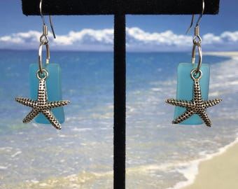 Sea Glass Drop Earings with Star Fish