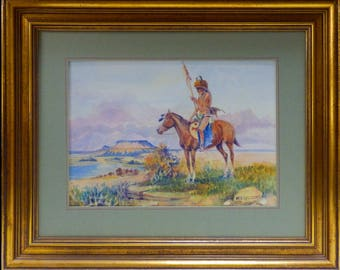 Warrior Native American by W. S. Seltzer Watercolour Painting