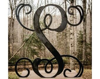 """Large Metal Letter 22"""" Door Hanger, Front Door Monogram, Monogram Front Door Letter, All Season Wreath, Metal Monogram, Front Door Initial"""