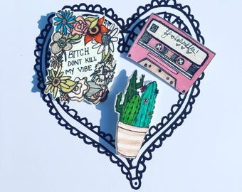 Mix Tape Cassette brooch, pin, badge, original one of a kind design, handmade and illustrated item.