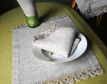 Linen tea towels Linen placemat Lace linen napkins Crochet linens Linen placemats Rustic kitchen linens Wedding linens set  Gray linens set