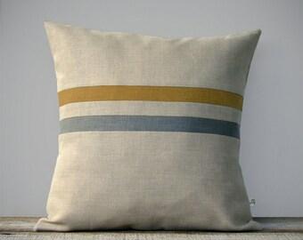 Marigold Striped Pillow Cover in Stone Grey & Natural Linen by JillianReneDecor - Modern Home Decor - Dark Mustard