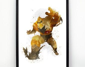 Zangief, Street Fighter fan Art, Watercolor alternative poster, Watercolor Art, Nursery Print, Nursery Wall Art,