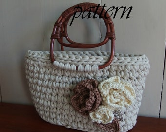 Digital crochet pattern two Zpagetti pouches with crochet flowers/crochet pattern Zpagetti handbag/Download pattern Zpagetti bag/XL hooks.