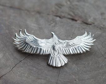 Silver Eagle Pendant | Native American Inspired | Silver Eagle Necklace | Flying Bird Pendant | Silver Eagle Charm | Oxidized Silver Pendant