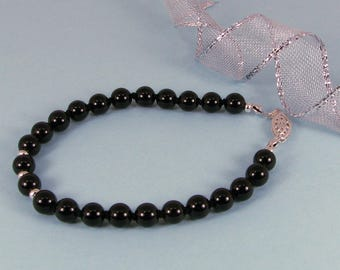 Hand-Knotted Black Onyx and Sterling Silver Bracelet