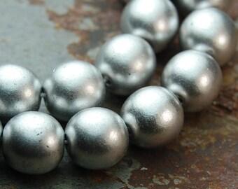 Silver Czech Glass 8mm Druk Beads -25 Czech Beads