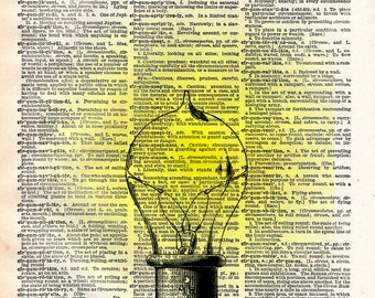 Classic Edison lightbulb, Steampunk light, vintage dictionary page book art print