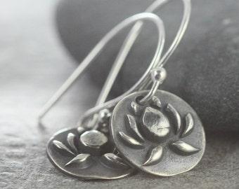 Lotus Flower Earrings, Yoga Jewelry, Buddhist Buddha Enlightenment, No Much No Lotus, Sterling Silver Handmade