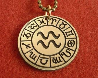 Zodiac sign Aquarius pendant