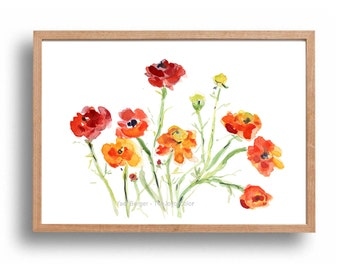 Buttercups art print, Buttercup  watercolor print, Floral art print, buttercups artwork, mothers day, orange, red, yellow, home decor