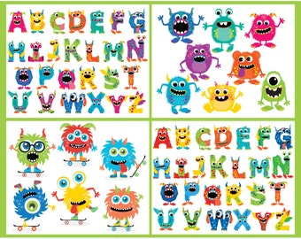 Clipart Bundle - Monsters / Monster Alphabet Party - Digital Clip Art (Instant Download)