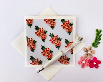 Set of 5 blank floral card set,quilling print card set,square blank card set,floral thank you card set,favor card set,floral print card set