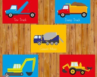 Bau LKW Ausrüstung Transport Kleinkind Wandkunst Fahrzeuge jungen Schlafzimmer Dekor 5-8 x 10 druckbare JPG Dateien sofort-Download (107)