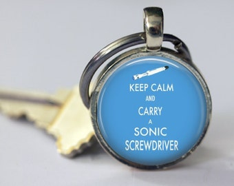 Keep Calm and Carry a Sonic Screwdriver - Dr. Who Keychain - 25mm Round