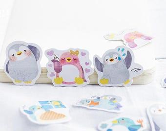 Penguin Sticker Set,  Cute Animal Stickers, Sticker Flakes, Kawaii Planner Sticker Pack