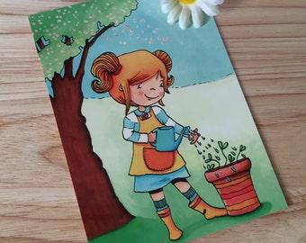 A Girl in Spring Illustration Postcard