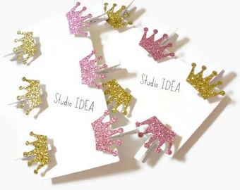Set of 12 or 24 white Mini Clothespins with Glitter Pink & Glitter Gold Crown Embellishment - Favor Tags, Gift Tags - Set of 12 or 24pcs