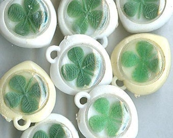 10 vintage GUMBALL SHAMROCK CHARMS vintage charms kitchy charms shamrock embedded plastic gumball charms