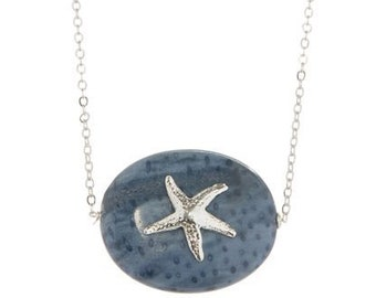 Blue Coral & Silver Starfish Necklace