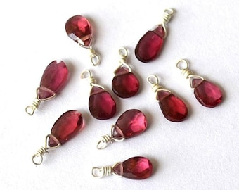 Gorgeous 1 drop of Garnet bead is faceted on silver wire