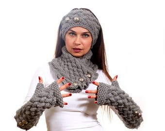 Knitted Scarf, Long Fingerless Gloves and a Headband Hand Knit Set in Grey by Solandia, Winter Fashion