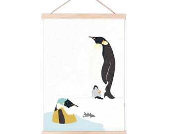 Poster - penguin   children - nursery   50x70cm - 19,7 x 27,5 inches
