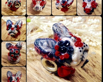 Boston Terrier Day of the Dead European Specialty Dog Bead - Charm for All Large Hole Bracelets OOAK One of a Kind Black White Red