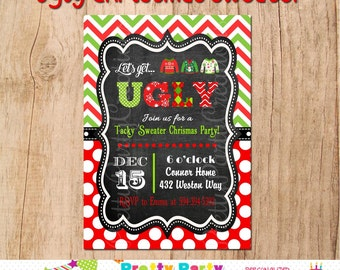 UGLY CHRISTMAS SWEATER invitation -- You Print