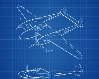 Lockheed P-38 Lightning Airplane Patent - Vintage Airplane, Airplane Blueprint, Airplane Art, Pilot Gift,  Aircraft Decor, Airplane Poster,