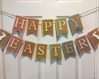 Happy Easter Banner, Happy Easter Bunting, Happy Easter Paper Banner, Easter Decoration, Easter Mantle Decor, Spring bunting