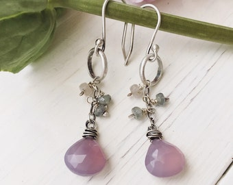 handcrafted silver and gemstone earrings, purple earrings, chalcedony earrings, dangle earrings, wire wrapped earrings, silver earrings