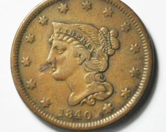 1840 Small Date 1c Braided Head Large Cent Rare Penny