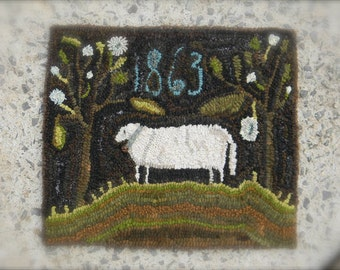 1863 Sheep ~ PAPER Rug Hooking PATTERN - Paper or Linen - from - Notforgotten Farm