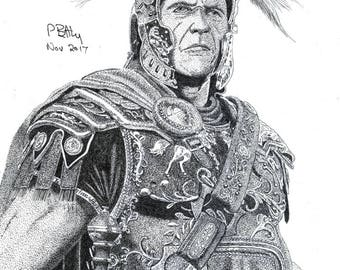 Greeting Card - Pen & Ink Drawing, A5 - Roman General