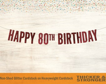 Happy 80th Birthday Banner, Block Letters - 80th birthday party sign, 80th Birthday Banner, 80th Birthday Party