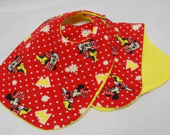Baby Girl Bib and Burp Cloth Set, 0-3 Month Size, Baby Shower Gift, Welcome Baby Gift, New Baby Gift: Minnie Mouse on Red