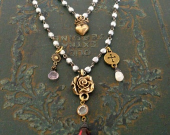 JUBILATION Rose Gemstone Necklace - Double Strand Silver Bead Gold Bronze Rose Cross Heart Crown Necklace, Garnet, Charm Bead Religious