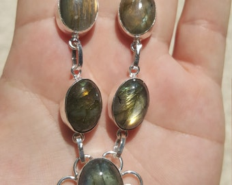 "Exquisite Gold Flash Labradorite Necklace 19"" 28g Sterling Silver Spectral Labradorite"