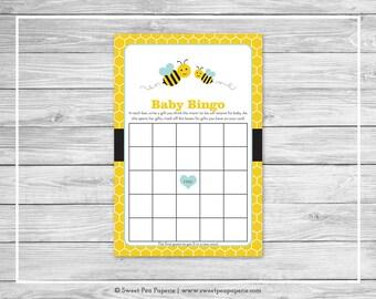 Bumble Bee Baby Shower Baby Bingo Game - Printable Baby Shower Baby Bingo Game - Bumble Bee Baby Shower - Bee Shower - Baby Bingo - SP138