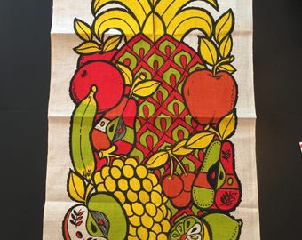 Vintage Georges Briard tea towel, fruit collection, pineapple, mid century tea towel, kitchen linens, Georges Briard, modern design, bright