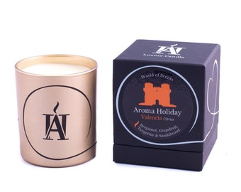 Luxury VALENCIA Citrus Scented Candle by Aroma Holiday UK