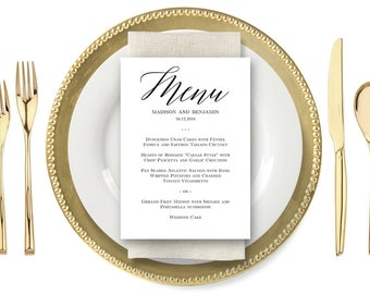 Printable Wedding Menu Card, Instant Download Editable Template - MODERN SCRIPT #MSC