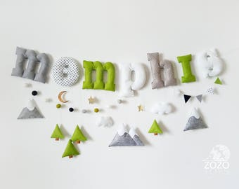 Personalized Name Garland - Baby Boy Name Banner - Felt Nursery Letters - Baby Name Bunting - Custom Name Banner - Wall Decoration Banner
