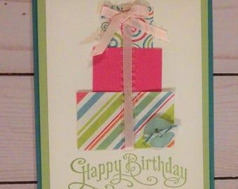 Stack of Presents Birthday Card - Handmade Pink Ribbon Birthday Card