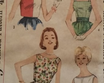Vintage Simplicity 3963 Sewing Pattern Size 14 Set of One-Yard Blouses