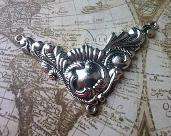 2 large Baroque Connectors-Silver color-