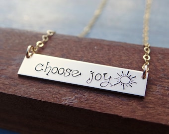 Choose Joy with Sun, Happy Bar Necklace in your choice of Sterling Silver, Gold, or Rose Gold. Encouraging, Inspirational Jewelry for Her.